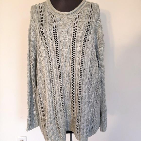 Chunky Adrienne Vittadini Gray Knit Silk Sweater L
